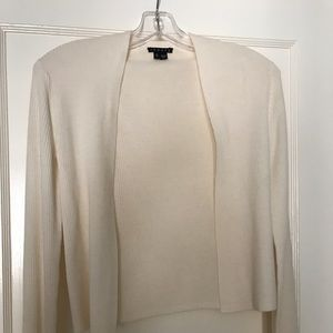 Theory Ivory Cropped Open Cardigan